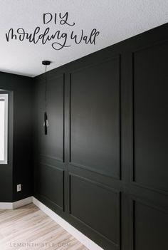 Master Bedroom DIY Moulding Wall DIY Moulding Wall tips and video tutorial Wall Molding, Diy Molding, Moldings, Black Wainscoting, Wainscoting Bedroom, Wainscoting Ideas, Black Molding, Molding Ideas, Home Renovation