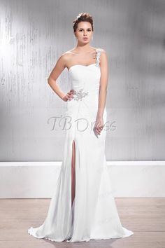 Faddish Sheath/Column Floor-Length Split-Front One-shoulder Veronika's Wedding Dresses