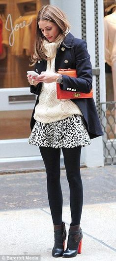 Fall style. Tailored coat, chunky sweater, flirty print mini-skirt, tights, booties. And that gorgeous orange clutch. Olivia Palermo