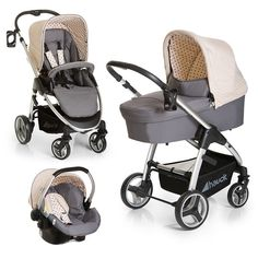 Komfortables Set aus leichtem Alu-Gestell, Sportwagenaufsatz, Wanne und Babyschale.