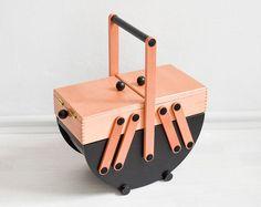 Rustic sewing box knitting basket jewelry box jewelry organizer