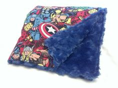 Custom Baby Blanket Marvel Comic Book Characters with Navy Blue Minky Swirl Baby Blanket via Etsy