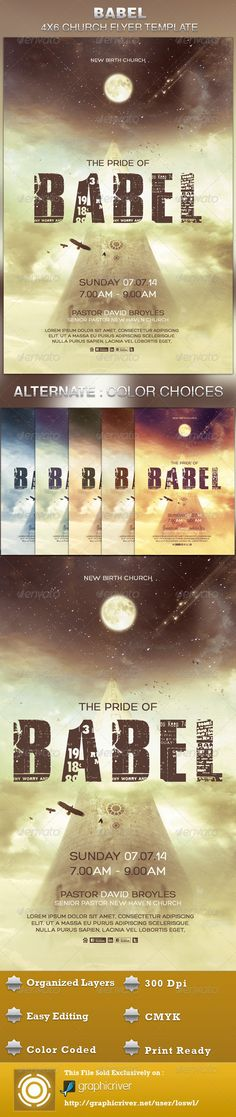 The Babel Church Flyer Template is great for any Church Event. Use it for Ministries, Pageants and Sermons, etc. The layered Photoshop files are color coded and organized in folders for easy editing. The file also contains 6 – One Click Color options. $6.00