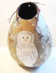 Sacred Owl Painted Gourd Art Vessel with Twig Lacing | ConsciousArtStudios - Folk Art & Primitives on ArtFire