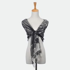 Floral Print Silk Scarf in Black On Sale:YESShown Color:Black WhiteSeason:Spring/Fall/WinterFabric:SilkSize:50*160 Only $9.99 USD
