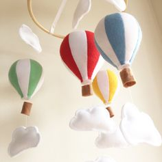 This beautiful STANDARD hot air balloon mobile is the perfect addition to any nursery room, girl or boy. Designed to hang from a ceiling hook this cot mobile or crib mobile can be fully customized to suit your baby nursery decor. Also makes a unique baby shower gift.  Colours are fully customised by YOU! You pick the colours to match your nursery colour scheme. Please leave desired colours in the notes section at checkout. Feel free to discuss your colour options with me prior to purchase…