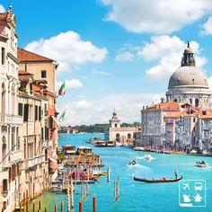 Bom dia, viajantes! Esta bela imagem de Veneza cabe na série Onde Eu Queria Estar Agora - Quem também gostaria de estar passeando nesta manhã de sol por esta cidade linda?   Programe a sua viagem hoje mesmo!