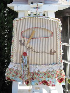 Sweet Magnolias Farm .. Custom farmhouse Clothespin Bag Ticking ~ Aqua and Red Flora ~ Vintage Lace..    Sold to a good home.