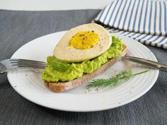 Vegan boiled egg on avocado toast - packed with protein