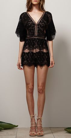 Woven Lace Romper w/ Dolman Sleeves and V-neck Design
