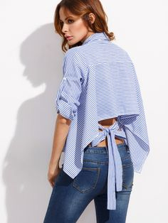 891aad67cf1f3 Shop Blue Mixed Stripe Tie Back High Low Blouse online. ROMWE offers Blue  Mixed Stripe Tie Back High Low Blouse   more to fit your fashionable needs.