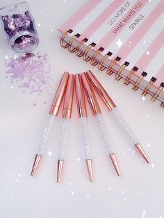 Diamonds Ballpoint Pen : CLEAR Crystals ROSE GOLD Metal Pen Gems | Back To School | Office | Life Planner Pen Desk Accessories. by HennytjCraftcottage on Etsy https://www.etsy.com/listing/384876072/diamonds-ballpoint-pen-clear-crystals