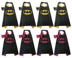 Party pack 15 Batman party Favors, Batman Cape And Mask,Batgirl, Batman, Boy Cape, Girl Cape
