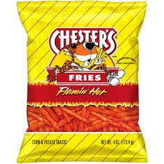 Chester's Flamin' Hot Fries oz. Potato Snacks, Potato Chips, Hot Fries Chips, Churros, Hot Snacks, Hot Corn, Fried Corn, Food Cravings, Spicy