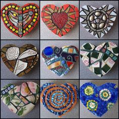 Mosaic Hearts - try these in clay to make canes