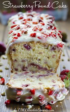 Strawberry Pound Cake with fresh strawberries and beautiful white glaze. Beautiful spring dessert recipe.