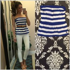 "Nautical top from Abercrombie Royal blue/white strapless peplum top from A&F. Size L, will fit up to D cup. Perfect condition, doesn't come with the belt * laying flat •armpit to armpit 15"" •length 15"" Abercrombie & Fitch Tops Tank Tops"