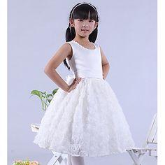 Mooie mouwloze satijn en kant bruiloft / avond bloemenmeisje jurk met bloem / imitatie parel – EUR € 31.67