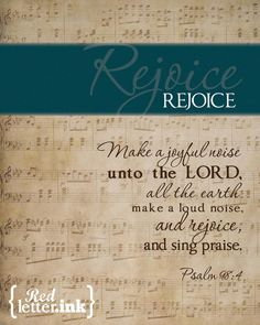 Wall Art REJOICE turquoise on old music score by RedLetterInk