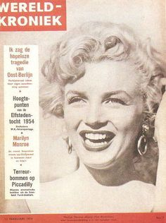 """Marilyn Monroe as she appeared at the Ray Anthony party in August 1952 on the front cover of """"Wereld-Kroniek"""" magazine, February 13th 1954, from Holland."""