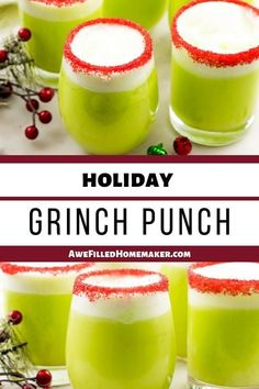 This Holiday Grinch Punch will add a bit of fun to your holiday traditions. Punch Recipes, Alcohol Recipes, Drinks Alcohol, Drink Recipes, Dinner Recipes, The Grinch Cocktail Recipe, Best Christmas Punch Recipe, Lime Sherbet Punch, Non Alcoholic Punch
