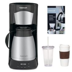 Cuisinart 12 Cup Programable Thermal Coffeemaker in Black + Coffee Mug & Iced Beverage Cup + Accessory Kit Coffee Maker Image, Best Drip Coffee Maker, Coffee Machine Best, Espresso Coffee Machine, Thermal Coffee Maker, Stainless Steel Coffee Maker, Coffee Machines For Sale, Coffee Maker Reviews, Coffee Center