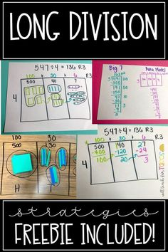 long division strategies for introducing long division. Perfect for grade. FREE long division practice maze Multiplication & Division for Kids Long Division Strategies, Teaching Long Division, Division Math Games, Math Strategies, Teaching Math, Long Division Activities, Math Activities, Long Division Practice, Math Literacy