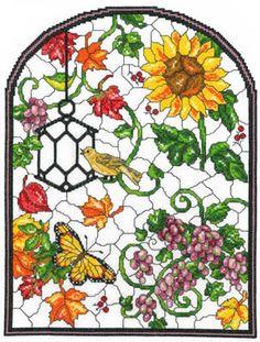 Autumn Stained Glass - http://www.123stitch.com/item/Imaginating-Autumn-Stained-Glass-Cross-Stitch-Pattern/13-1569
