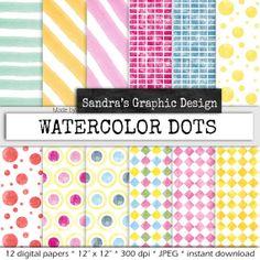 Waterverf patronen digital paper WATERVERF door SandraGraphicDesign