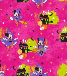 Disney Minnie Mouse Halloween Flannel Fabric 42 Fun
