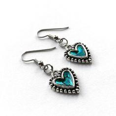 Teal Earrings Heart Earrings from Loralyn Designs