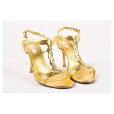 Pre-Owned Prada Metallic Gold Patent Leather Zig Zag Strappy Heeled... (€79) ❤ liked on Polyvore featuring shoes, sandals, multi, strap shoes, patent shoes, strap sandals, metallic gold shoes and strappy sandals