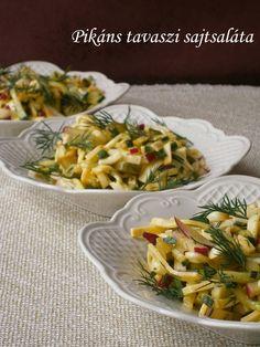 Pikáns tavaszi sajtsaláta Pasta Salad, Salad Recipes, Salads, Ethnic Recipes, Food, Ideas, Crab Pasta Salad, Essen, Meals