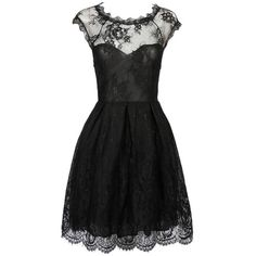 Black Sweetheart Cap Sleeve Sheer Lace Overlay Skater Dress (71 BRL) ❤ liked on Polyvore featuring dresses, lace cap sleeve dress, transparent dress, scalloped dress, lace skater dresses and see through dress