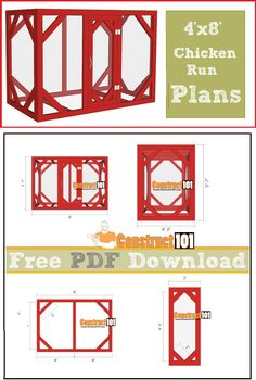 Chicken coop run plans - 4x8, free PDF download, cutting list, and shopping list.