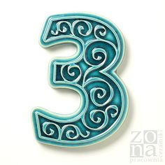 ceramic house number 3 turquoise by pracowniazona on Etsy