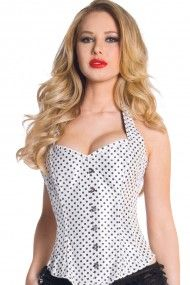 Heavy Duty Polka Dot Satin Corset - White