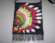 Super Retro PLASTIC BEAD BAG Indian Chief! VINTAGE HANDBAG 1970s COLOURS Fringed