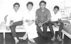 Uttam Kumar and Kishore Kumar, two undisputed legends in the fields of acting and singing with their sons Gautam Chatterjee and Amit Kumar.