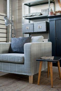 Karlanda armchair cover in Frescati Plaid Grey. www.bemz.com