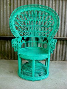 Upcycled Aqua Green Retro/Vintage Cane/Rattan Peacock Chair
