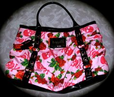 For Sale by Delia on EBay NOW!! Betsey Johnson Large Pink & Red Floral Tote with Skulls - New Without Tags