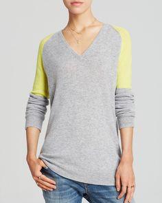 AQUA Cashmere Sweater - Colorblock V-Neck | Bloomingdale's XS