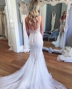 Mermaid Lace Deep V-neck Sleeveless Long Tulle Beach Wedding Dress,Bridal Gown,N527