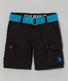 Look what I found on #zulily! Black & Turquoise Belted Cargo Shorts - Toddler & Boys #zulilyfinds