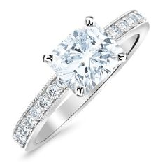 White Gold 14K White Gold Classic Side Stone Pave Set With Milgrain Diamond Engagement Ring with a 0.45 Carat GIA Certified Cushion Cut E Color VS1 Clarity Center Stone