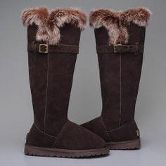 Ugg Fox Fur Tall 1852 Boots Chocolate UK