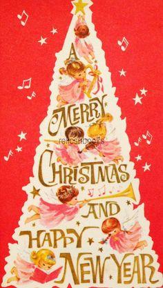 #1719 50s Unused Angel Tree-Vintage Christmas Card-Greeting | eBay
