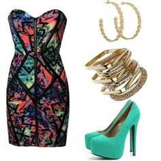 Cute colorful club dress with matching accessories.
