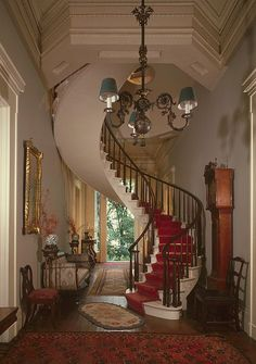 Impressive spiral staircase in the 1848 Charles L. Shrewsbury House, Madison, IN